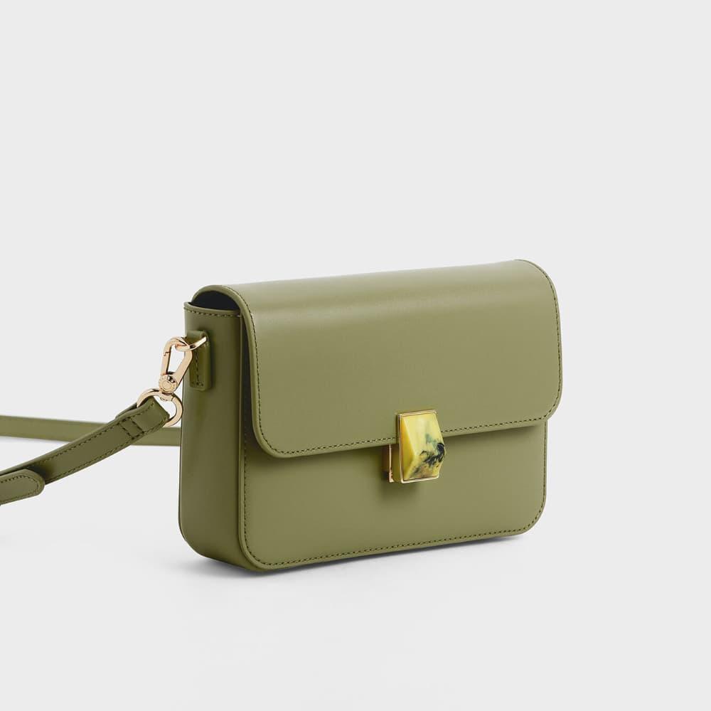 Leather Push-Lock Crossbody Bag
