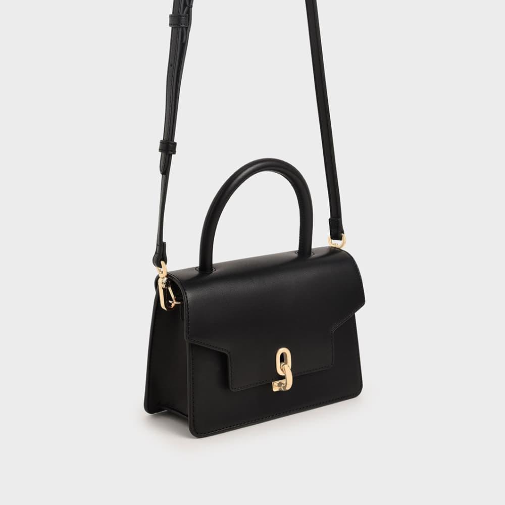 Leather Metallic Turn-Lock Bag